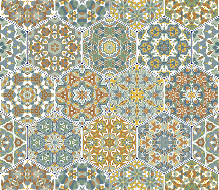 A rich set of hexagonal ceramic tiles. Eastern colored carpet. Colorful elements in oriental style. Vector illustration. 向量圖像