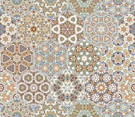 flooring: A rich set of hexagonal ceramic tiles in shades of orange and green. Colorful elements in oriental style. Vector illustration. Illustration