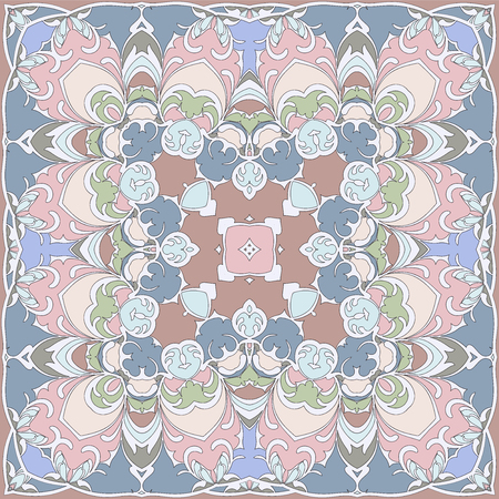 Gentle color pattern in Oriental style. Square ornament for shawls, scarves or pillow.Vector illustration. Illustration