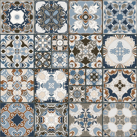 ceramic tiles: A collection of ceramic tiles in retro colors. A set of square patterns in ethnic style. Vector illustration.