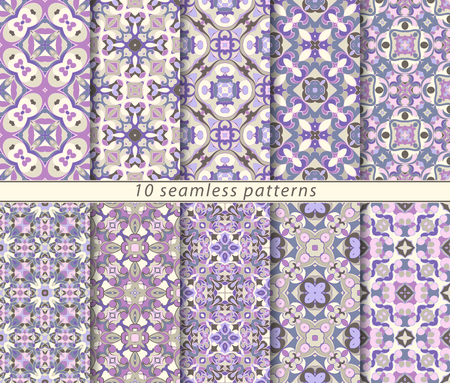 Ten seamless patterns in Oriental style. Eastern ornaments for design fabric, wrapping paper or scrapbooking. Vector illustration in blue and pink colors. Çizim
