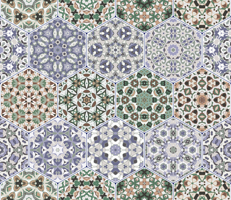 flooring: A rich set of hexagonal ceramic tiles in shades of blue and green. Colorful elements in oriental style. Vector illustration. Illustration