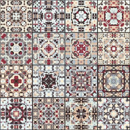 レトロな色のセラミック タイルのコレクションです。エスニック スタイルの正方形のパターンのセット。ベクトルの図。  イラスト・ベクター素材