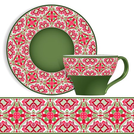 Cup and saucer with Oriental green and red pattern on the edge. Vector illustration on a white background.
