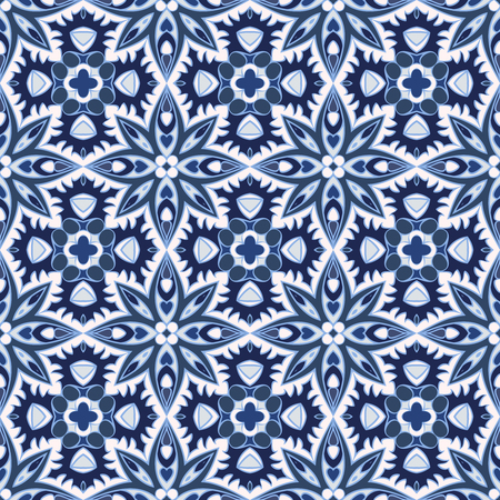 Delicate blue and white seamless pattern. Classic ornament in Oriental style. Vector illustration. Ilustração