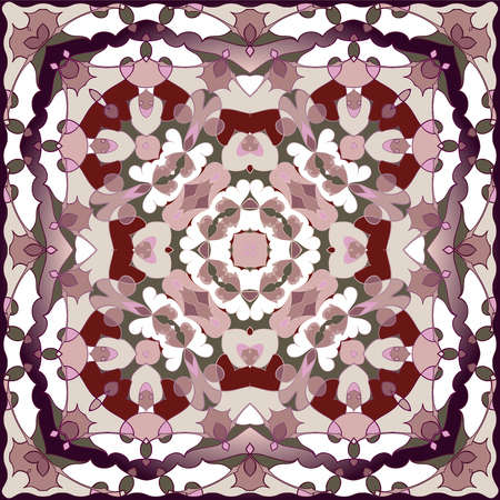 neckerchief: Rich striking pattern for a scarf. Square ornament in Oriental style. Vector illustration.