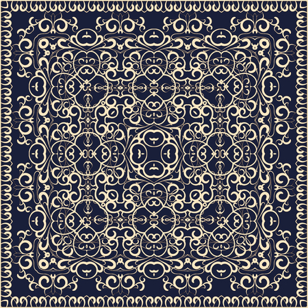 hankie: Square pattern on a blue background. Decorative ornament to the handkerchief. Vector illustration. Illustration