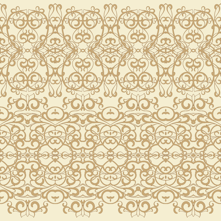 Seamless ethnic patterns for border. Repeated oriental motif for fabric or paper design.