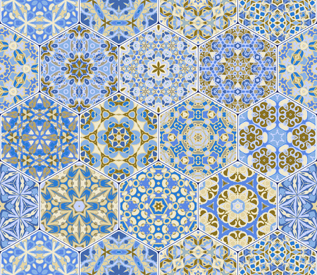 carpet flooring: A rich set of hexagonal ceramic tiles in shades of blue. Colorful elements in oriental style. Vector illustration.