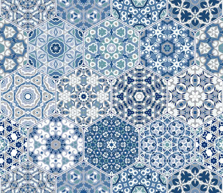 A rich set of hexagonal ceramic tiles in shades of blue. Colorful elements in oriental style. Vector illustration.