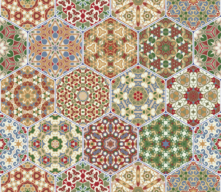 Multicolor vector set of hexagonal tiles in Arabic style. Oriental designs for the design of ceramics, textiles or scrapbooking.