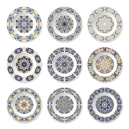Set of nine decorative plates with a circular colored pattern, top view. White background. Vector illustration. Illustration