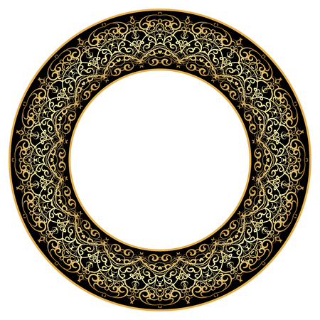 porcelain plate: Thin gold pattern for plates, trays, dishes and souvenirs. Vector illustration.
