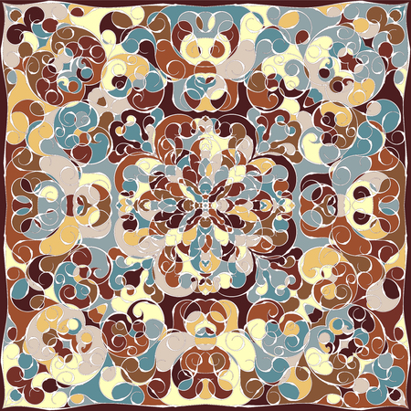 Elegant square colorful abstract pattern. Can be used to design pillows, scarves, neckerchief, bandanna, cushion.