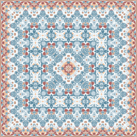 hanky: Elegant square light blue abstract pattern. Can be used to design pillows, scarves, neckerchief, bandanna, cushion.