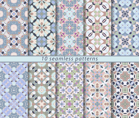 Vector set of ten seamless abstract patterns in shades of blue and pink. Decorative and design elements for textile, book covers, print, gift wrap. Illustration
