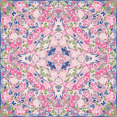 Elegant square pink abstract pattern. Can be used to design pillows, scarves, neckerchief, bandanna, cushion.