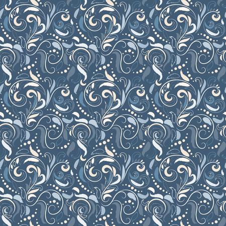대칭 원활한 파란색 패턴입니다. 바로크 스타일의 장식 배경입니다. 옷감이나 종이의 디자인을위한 모양과 선의 풍부한 장식. 벡터 일러스트 레이 션.