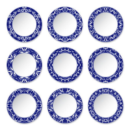 Set of decorative plates with a circular blue pattern, top view. White Çizim