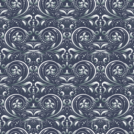 victorian wallpaper: Symmetric seamless blue pattern. Decorative background in Baroque style. The rich decor of the shapes and lines for design of cloth or paper. Vector illustration. Illustration