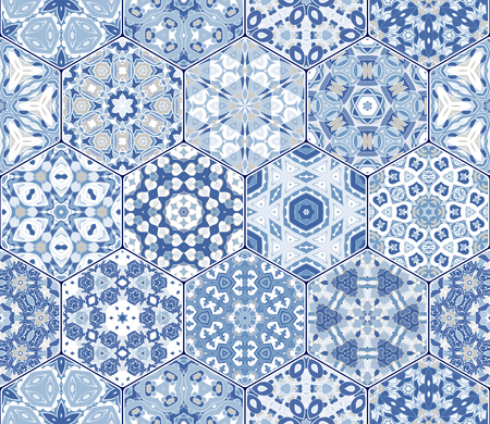 A Seamless hexagonal mosaic tiles in vector set. Oriental and ethnic motifs in design patterns.