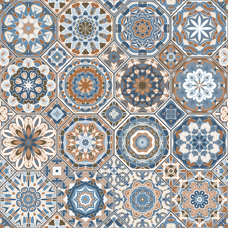 Vector collection of square and octagonal seamless patterns in Oriental style. A set of multicolor tiles.