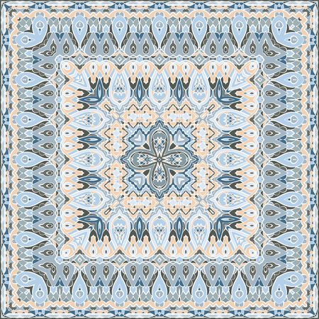 Delicate color pattern in Oriental style. Square ornament for shawls, scarves or pillow. Can be used for printing onto fabric or paper. Vector illustration.