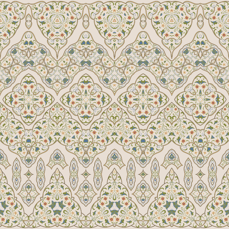 Seamless ethnic patterns for border. Repeated oriental motif for fabric or paper design. Colored frieze in Arabic style. Illustration