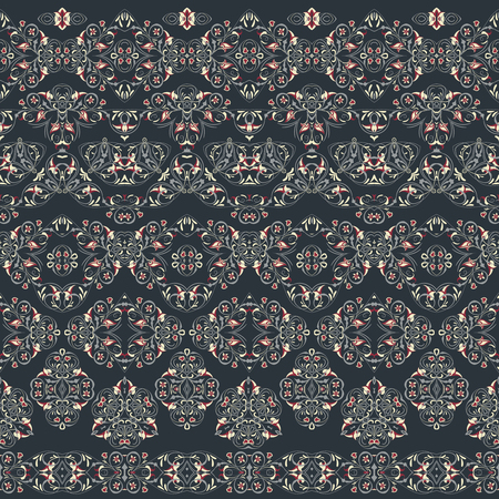 Seamless arabic patterns for border. Repeated oriental motif for fabric or paper design. Arabic pattern in red colors on black background.