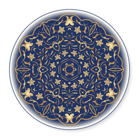 Blue decorative plate with rich gold pattern, top view. Circular ornament with arabesques. Vector illustration in Arabic style.