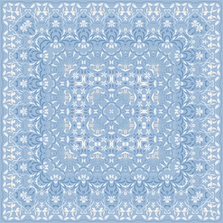 Elegant vierkant lichtblauw abstract patroon. Kan worden gebruikt om kussens, sjaals, halsdoek, bandana, kussen te ontwerpen.