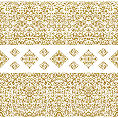 Seamless ethnic patterns for border. Repeated oriental motif for fabric or paper design. Gold pattern on a white background. Ornate vignette for Your design cards, invitations.