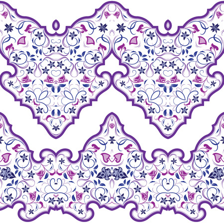 Seamless arabic patterns for border. Repeated oriental motif for fabric or paper design. Violet pattern on a white background.