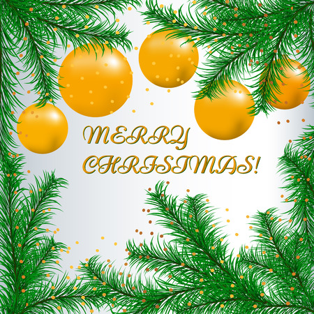 Happy new year card with fir branches and yellow Christmas balls. Ilustrace