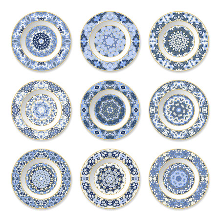 Set of decorative plates with a circular blue and gold pattern, top view. White background. Vector illustration. 矢量图像