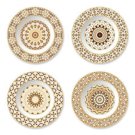 Set of decorative plates with a circular orange pattern, top view. White background. Vector illustration.