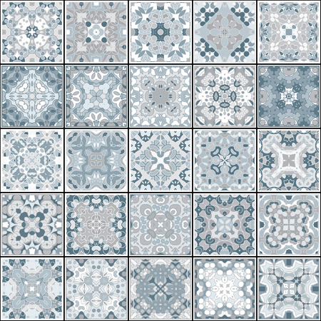 A collection of ceramic tiles in blue colors. A set of square patterns in oriental style. Vector illustration.