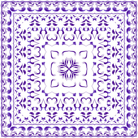 Bright lilac colored handkerchief. Rich striking pattern for a scarf. Square ornament in Oriental style. Vector illustration.