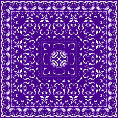 Blue colored handkerchief. Rich striking pattern for a scarf. Square ornament in Oriental style. Vector illustration.