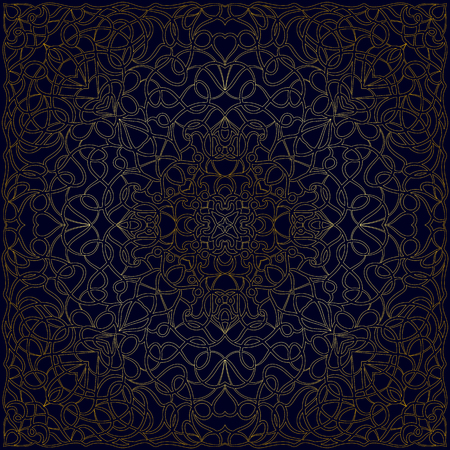 Handkerchief with golden ornament on dark blue background in Oriental style. Square pattrn for shawls, scarves or pillow. Vector illustration.