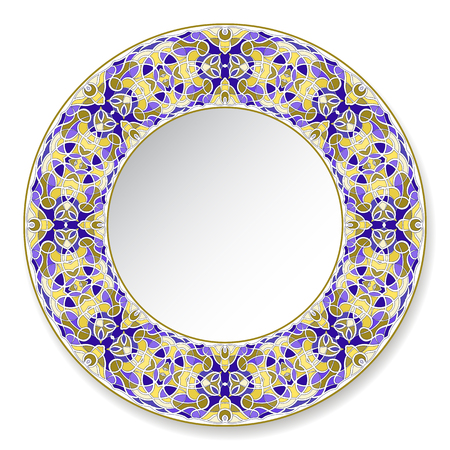 Colorfull decorative plate with pattern in Oriental style. A circular ornament for your design. Vector illustration.