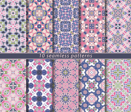 Vector set of ten seamless abstract patterns. Decorative and design elements for textile, book covers, manufacturing, wallpapers, print, gift wrap. Ilustrace