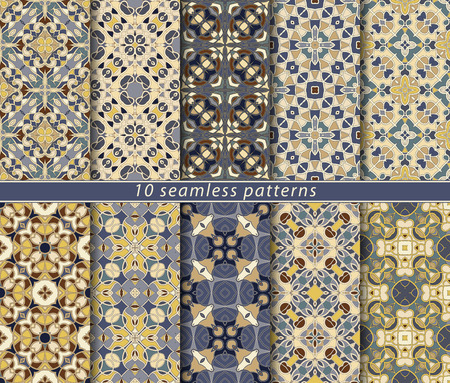 Ten seamless patterns. Symmetrical rectangular ornament in ethnic style. Arabic florid motif. Ilustrace