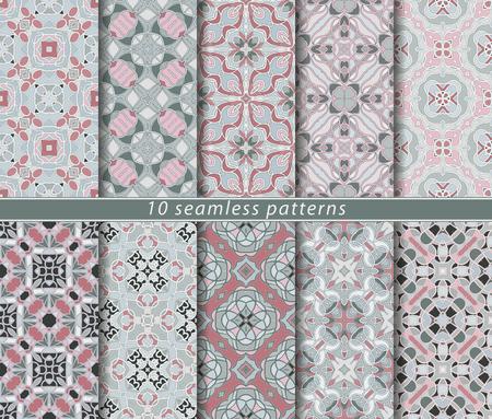 Ten seamless patterns. Symmetrical rectangular ornament in ethnic style. Arabic florid motif. Illustration