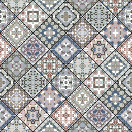 A collection of ceramic tiles in retro colors. A set of square patterns in ethnic style. Ilustrace