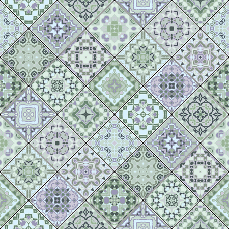 Square decorative seamless patterns in ethnic style in a diagonal set of tiles. The rich decoration of abstract ornaments for construction of fabric or paper. Ilustrace
