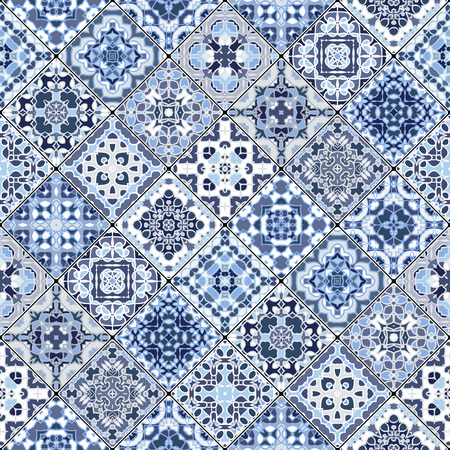 Vector set of mosaic blue and white square patterns. Classic ornaments in Oriental style.