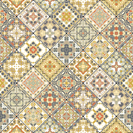 Set of seamless abstract patterns. Colorful tiles background in oriental style.