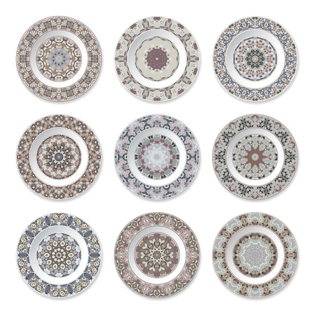Set of nine decorative plates with a circular colored pattern, top view. White background. Vector illustration.  イラスト・ベクター素材