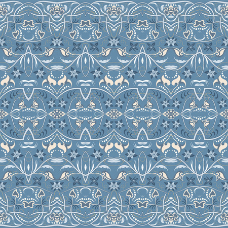 Seamless ethnic patterns for border. Repeated oriental motif for fabric or paper design. Colored frieze in Arabic style. Vectores